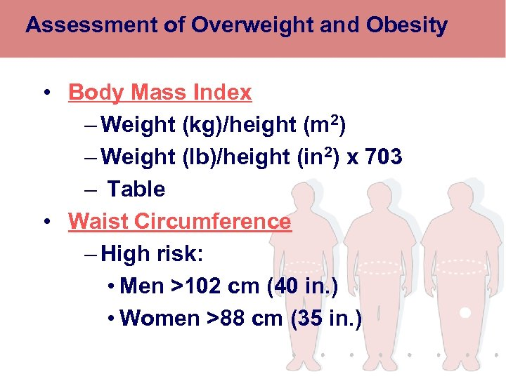 Assessment of Overweight and Obesity • Body Mass Index – Weight (kg)/height (m 2)