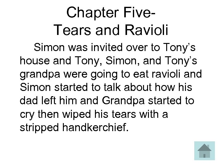 Chapter Five- Tears and Ravioli Simon was invited over to Tony's house and Tony,