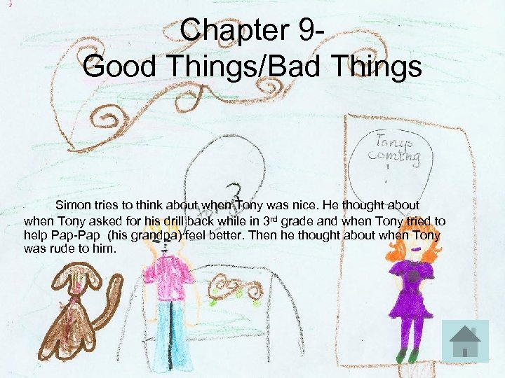 Chapter 9 Good Things/Bad Things Simon tries to think about when Tony was nice.