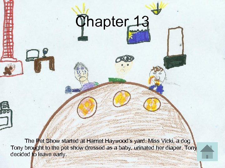 Chapter 13 The Pet Show started at Harriet Haywood's yard. Miss Vicki, a dog