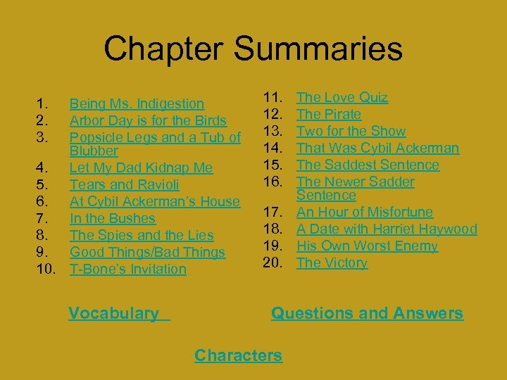 Chapter Summaries 1. 2. 3. Being Ms. Indigestion Arbor Day is for the Birds
