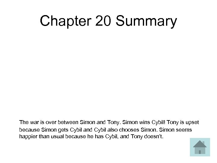 Chapter 20 Summary The war is over between Simon and Tony. Simon wins Cybil!