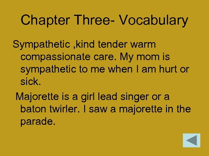 Chapter Three- Vocabulary Sympathetic , kind tender warm compassionate care. My mom is sympathetic