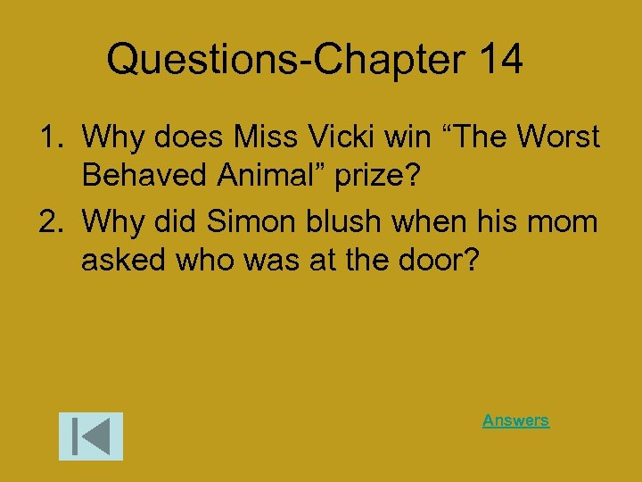 """Questions-Chapter 14 1. Why does Miss Vicki win """"The Worst Behaved Animal"""" prize? 2."""