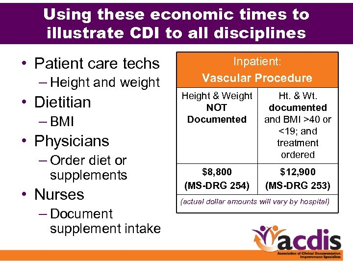 Using these economic times to illustrate CDI to all disciplines • Patient care techs