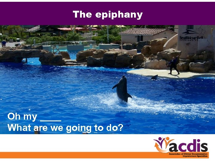 The epiphany Oh my ____ What are we going to do?