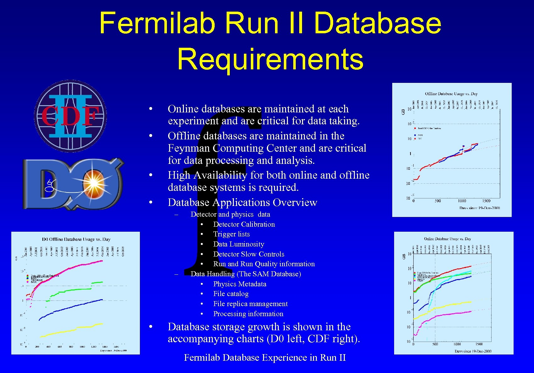 Fermilab Run II Database Requirements • • f Online databases are maintained at each