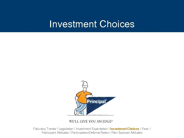 Investment Choices Fiduciary Trends I Legislation I Investment Expectation I Investment Choices I Fees