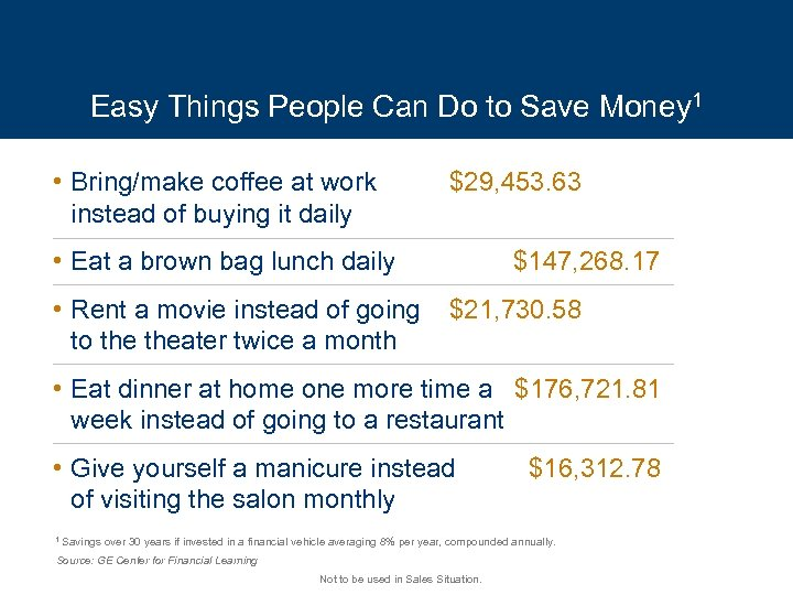 Easy Things People Can Do to Save Money 1 • Bring/make coffee at work