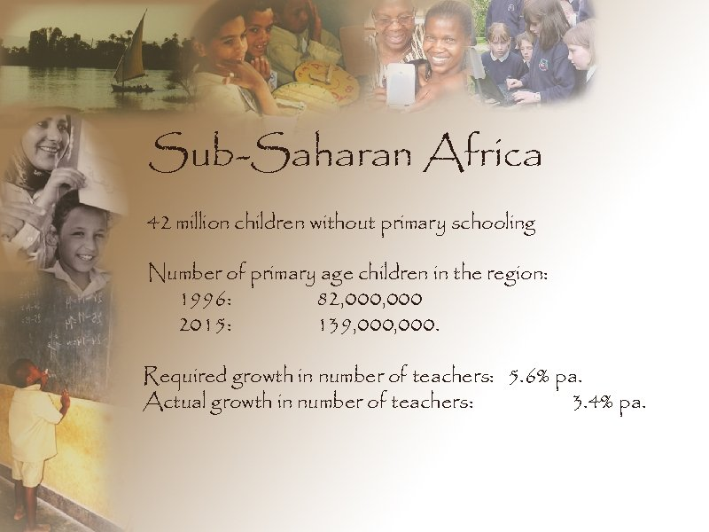 Sub-Saharan Africa 42 million children without primary schooling Number of primary age children in
