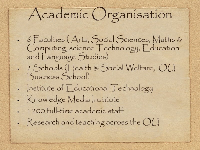 Academic Organisation 6 Faculties ( Arts, Social Sciences, Maths & Computing, science Technology, Education