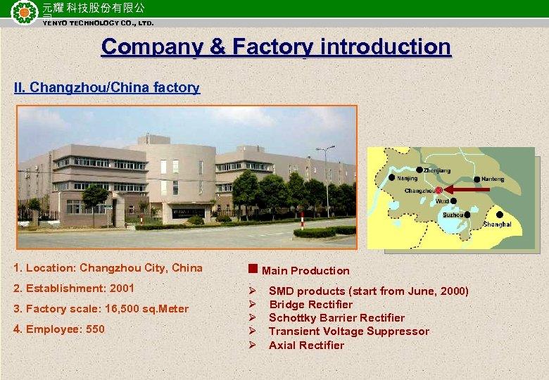 元耀 科技股份有限公 司 TECHNOLOGY CO. , LTD. YENYO Company & Factory introduction II. Changzhou/China