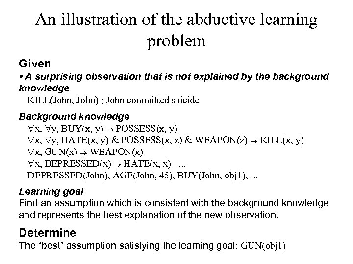 An illustration of the abductive learning problem Given • A surprising observation that is
