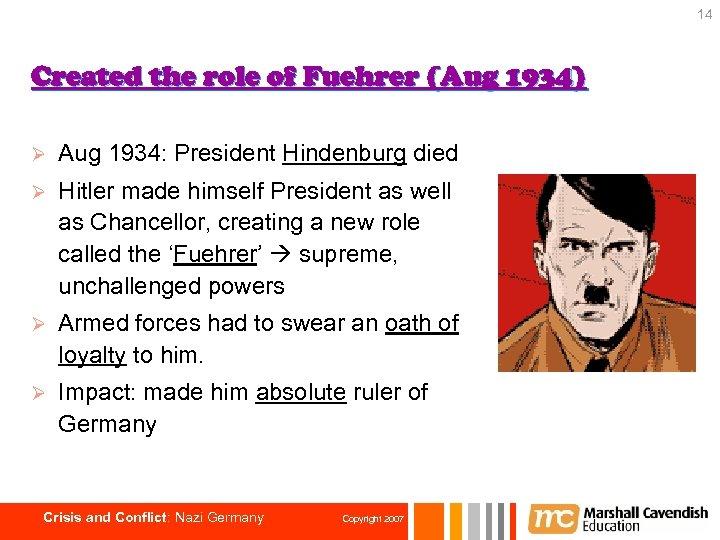 14 Created the role of Fuehrer (Aug 1934) Ø Aug 1934: President Hindenburg died