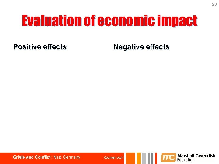 28 Evaluation of economic impact Positive effects Crisis and Conflict: Nazi Germany Negative effects