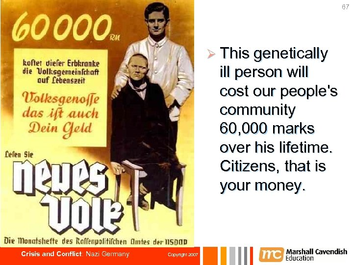 67 Ø This genetically ill person will cost our people's community 60, 000 marks