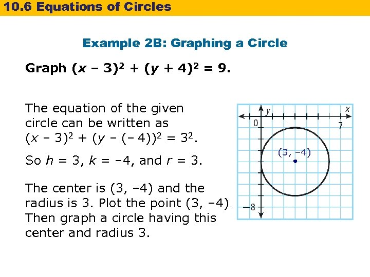10. 6 Equations of Circles Example 2 B: Graphing a Circle Graph (x –