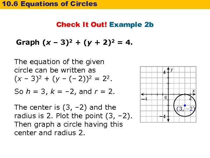 10. 6 Equations of Circles Check It Out! Example 2 b Graph (x –
