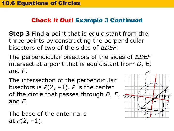 10. 6 Equations of Circles Check It Out! Example 3 Continued Step 3 Find