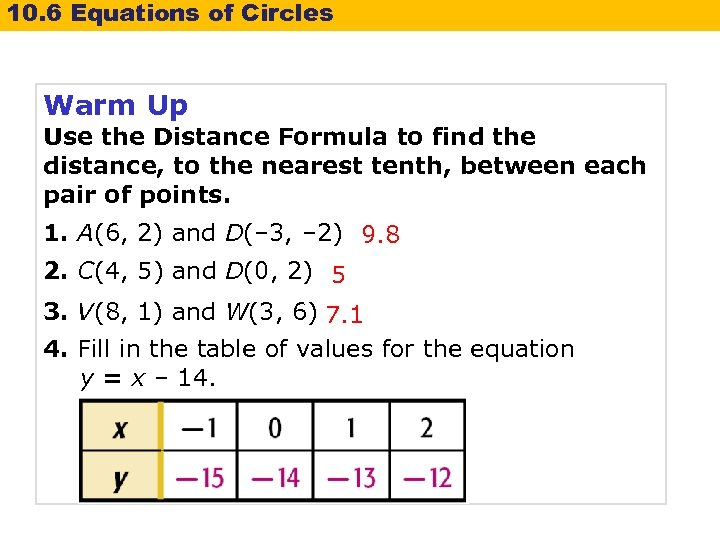 10. 6 Equations of Circles Warm Up Use the Distance Formula to find the
