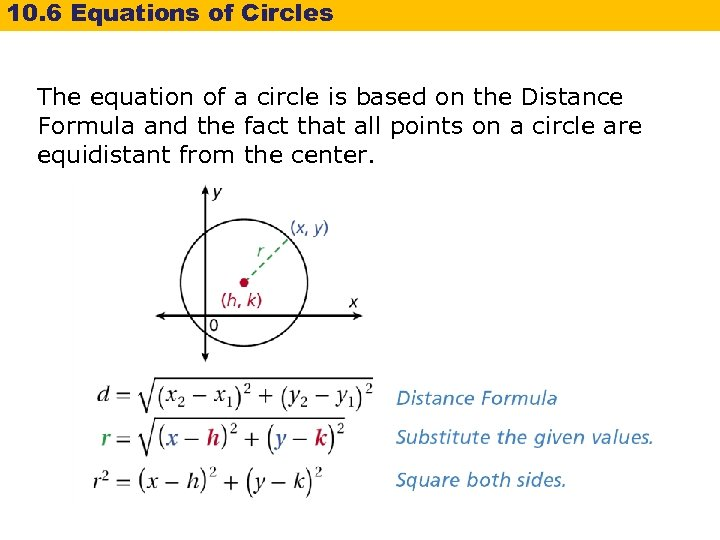 10. 6 Equations of Circles The equation of a circle is based on the