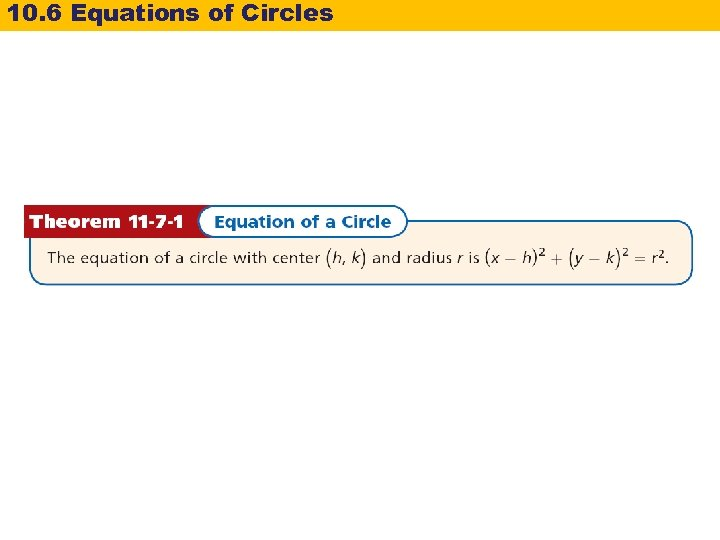 10. 6 Equations of Circles