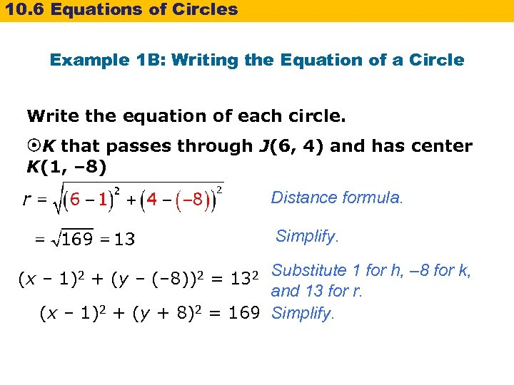 10. 6 Equations of Circles Example 1 B: Writing the Equation of a Circle