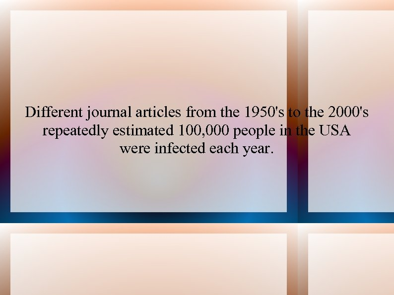 Different journal articles from the 1950's to the 2000's repeatedly estimated 100, 000 people