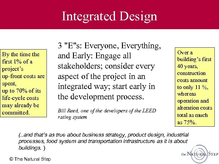 Integrated Design By the time the first 1% of a project's up-front costs are