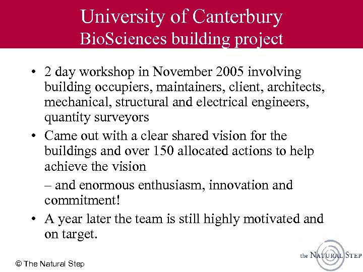University of Canterbury Bio. Sciences building project • 2 day workshop in November 2005