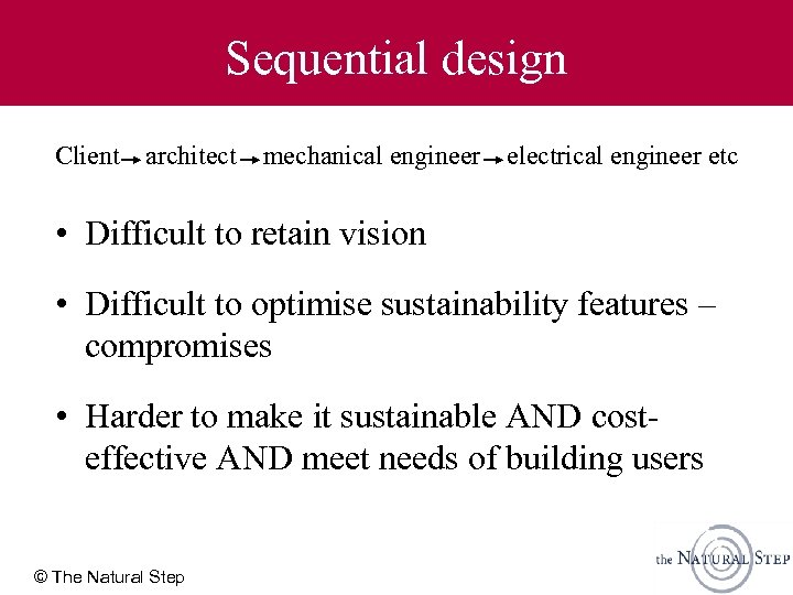 Sequential design Client architect mechanical engineer electrical engineer etc • Difficult to retain vision