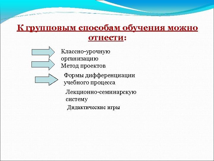 К групповым способам обучения можно отнести: Классно-урочную организацию Метод проектов Формы дифференциации учебного процесса