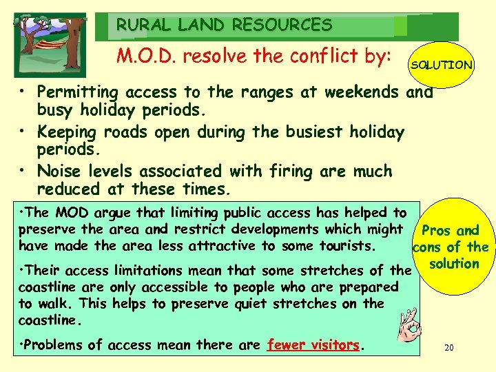 RURAL LAND RESOURCES M. O. D. resolve the conflict by: SOLUTION • Permitting access