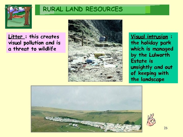 RURAL LAND RESOURCES Litter : this creates visual pollution and is a threat to