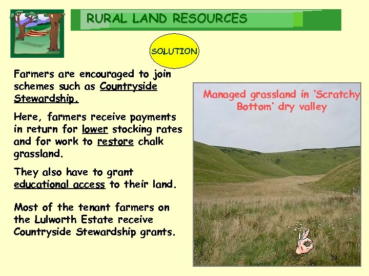 RURAL LAND RESOURCES SOLUTION Farmers are encouraged to join schemes such as Countryside Stewardship.