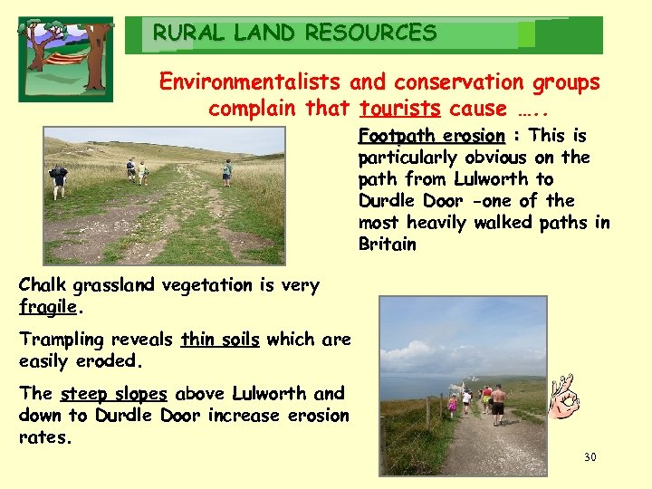 RURAL LAND RESOURCES Environmentalists and conservation groups complain that tourists cause …. . Tourists