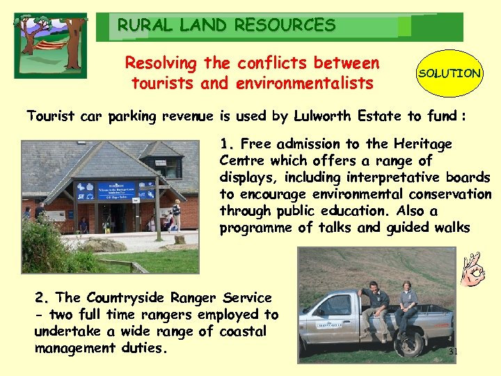 RURAL LAND RESOURCES Resolving the conflicts between tourists and environmentalists SOLUTION Tourist car parking