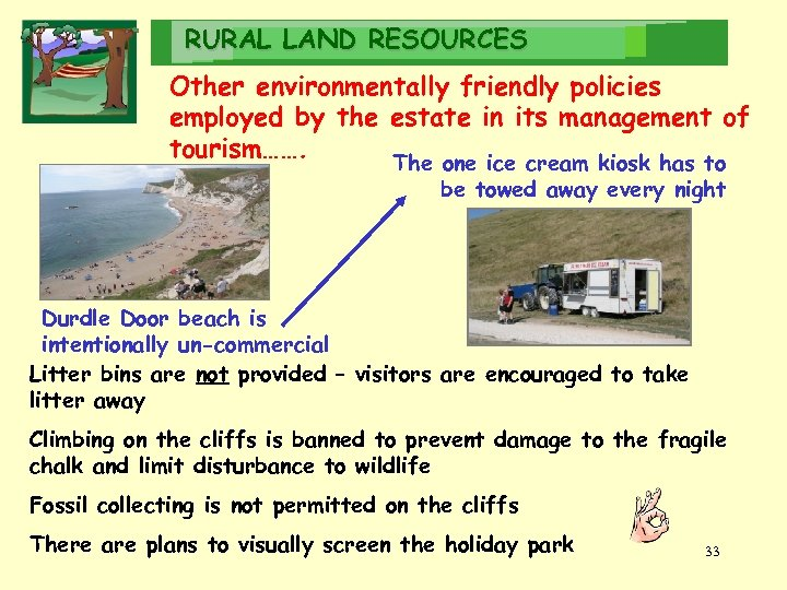 RURAL LAND RESOURCES Other environmentally friendly policies employed by the estate in its management
