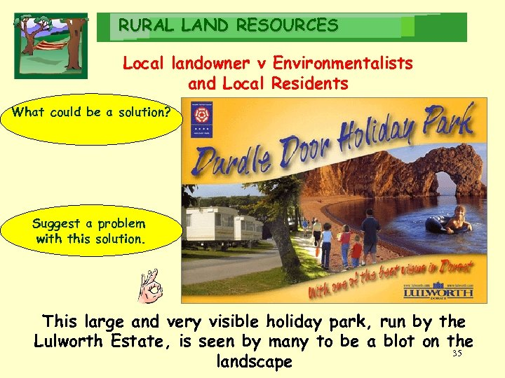RURAL LAND RESOURCES Local landowner v Environmentalists and Local Residents What could be a