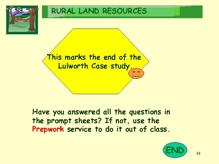 RURAL LAND RESOURCES This marks the end of the Lulworth Case study. Have you