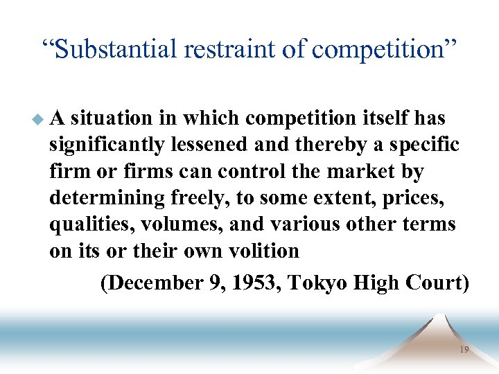 """Substantial restraint of competition"" u. A situation in which competition itself has significantly lessened"