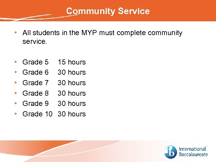 Community Service • All students in the MYP must complete community service. • •