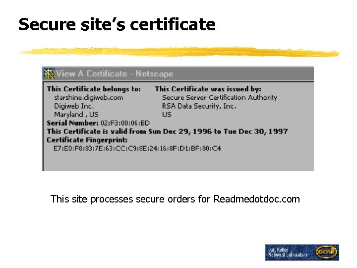 Secure site's certificate This site processes secure orders for Readmedotdoc. com