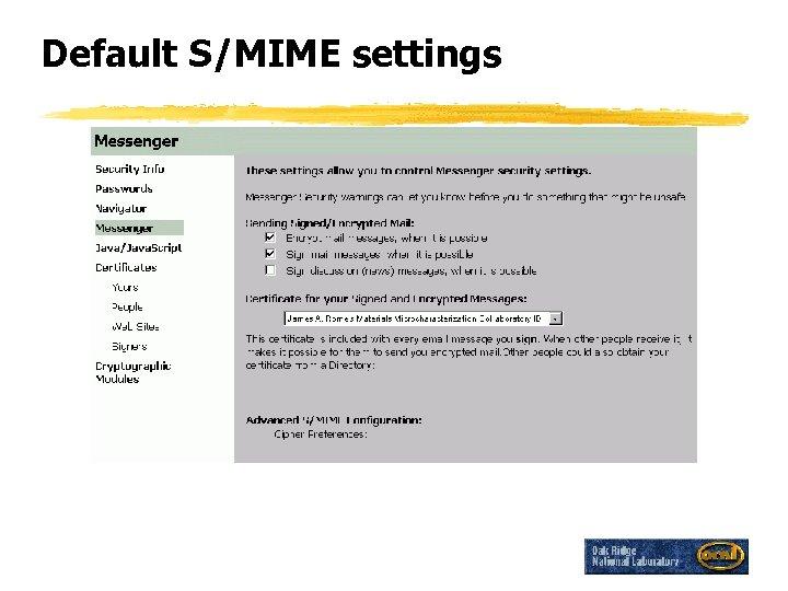 Default S/MIME settings