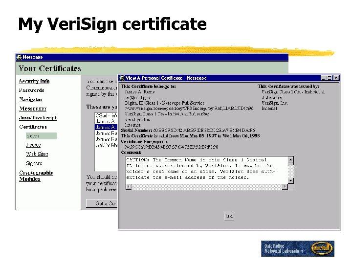 My Veri. Sign certificate