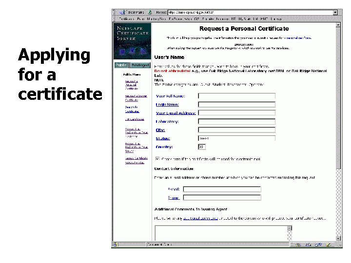 Applying for a certificate