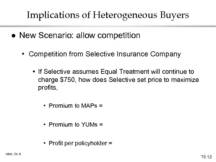 Implications of Heterogeneous Buyers l New Scenario: allow competition • Competition from Selective Insurance