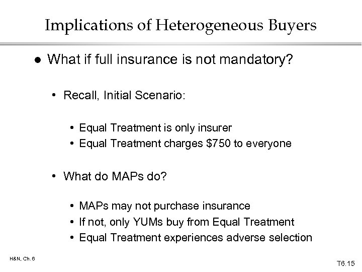 Implications of Heterogeneous Buyers l What if full insurance is not mandatory? • Recall,