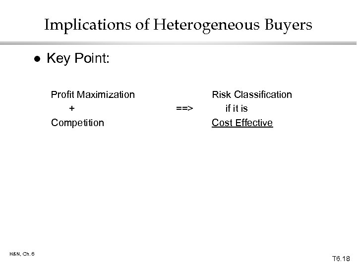 Implications of Heterogeneous Buyers l Key Point: Profit Maximization + Competition H&N, Ch. 6