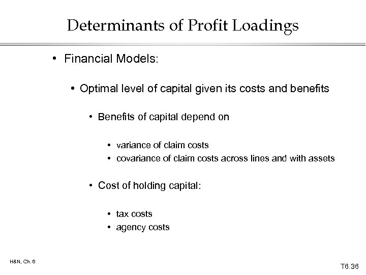 Determinants of Profit Loadings • Financial Models: • Optimal level of capital given its